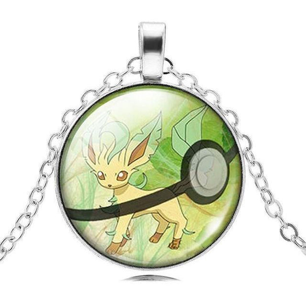 pokemon leafeon glass pendant