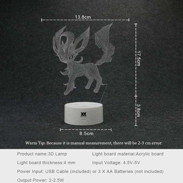 pokemon leafeon led 3d night light sizes
