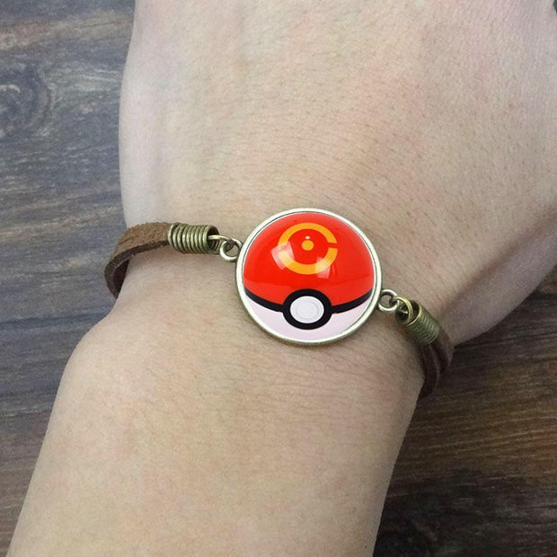 pokemon sports ball leather bracelet on wrist