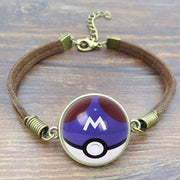 pokemon master ball leather bracelet
