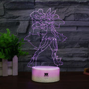 pokemon mega lucario led 3d night light of purple color