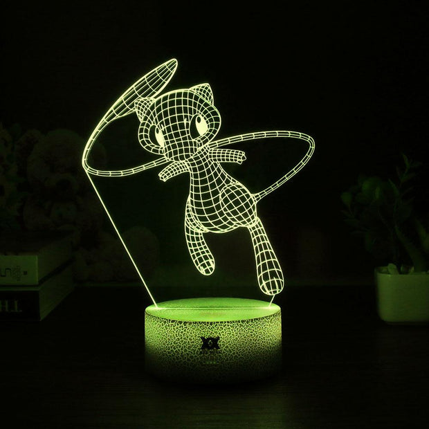pokemon mew led 3d night light of yellow color