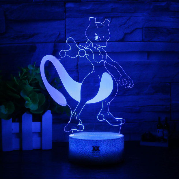 pokemon mewtwo 3d led night light of blue color