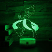 pokemon mewtwo led 3d night light of green color