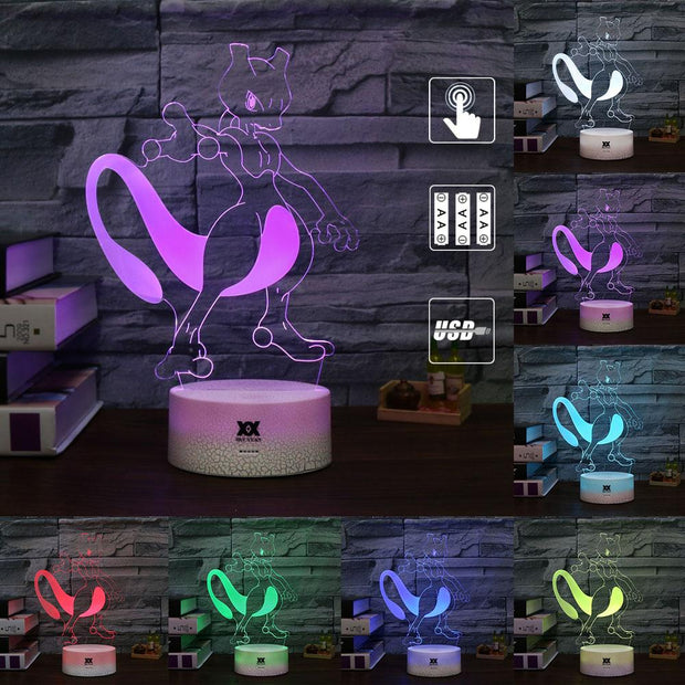pokemon mewtwo 3d led night light of many color