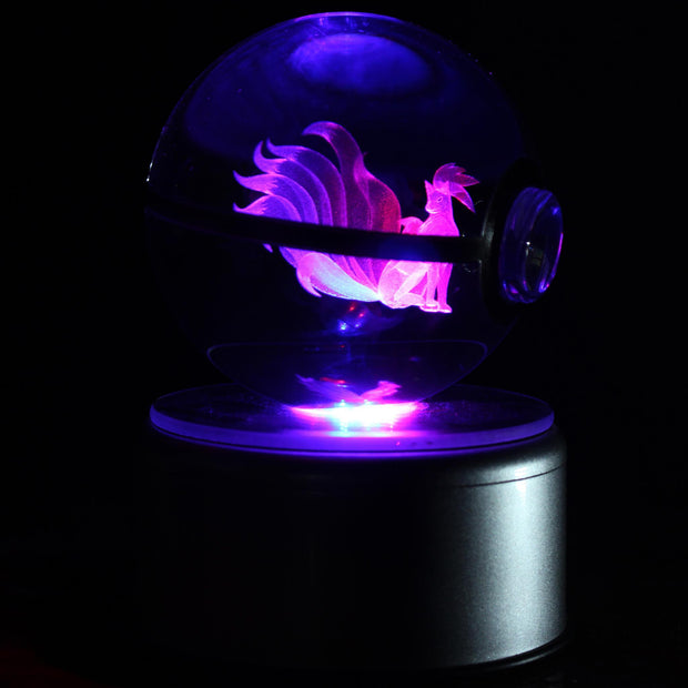 pokemon ninetales crystal led pokeball