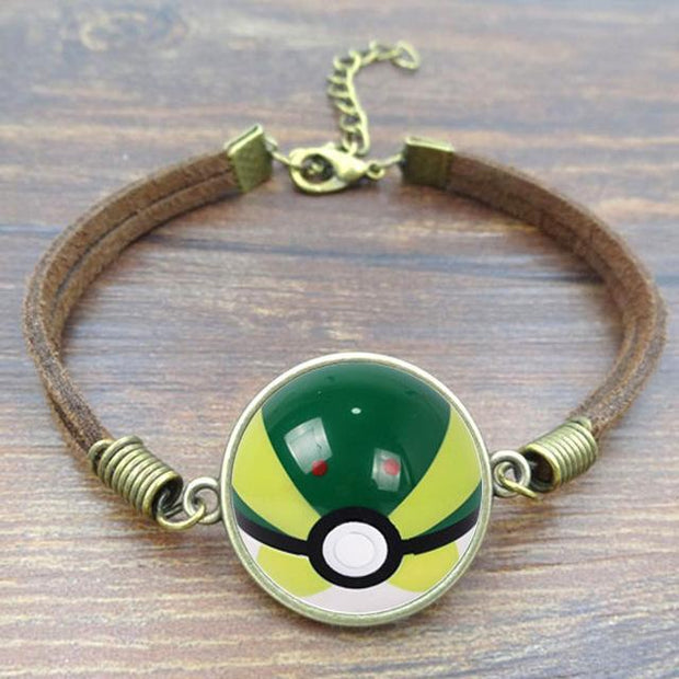 pokemon park ball leather bracelet