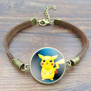 pokemon pikachu vintage leather bracelet with blue color