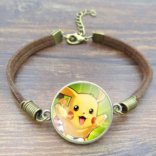 pokemon pikachu vintage leather bracelet of green color
