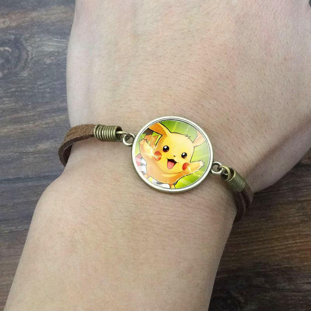 pokemon pikachu vintage leather bracelet green color on wrist