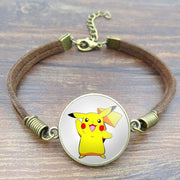 pokemon pikachu vintage leather bracelet of white color