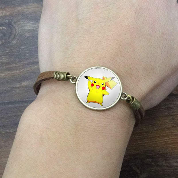 pokemon pikachu vintage leather bracelet of white color on wrist