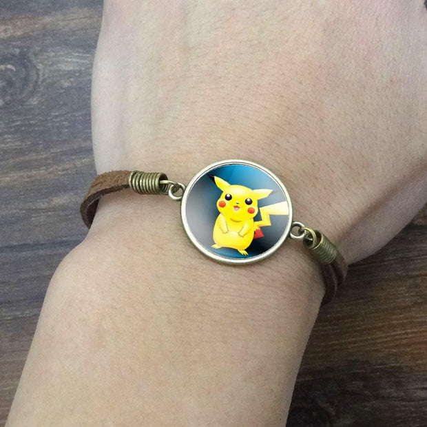 pokemon pikachu vintage leather bracelet of blue color on wrist