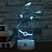 pokemon pikachu led night light yellow of blue color