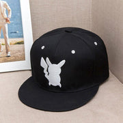 pokemon pikachu logo snapback hat of black and white color