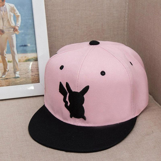 pokemon pikachu logo snapback hat of pink and black color