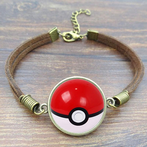 pokemon pokeball leather bracelet