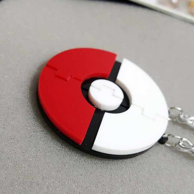 pokemon pokeball two piece pendant closed together
