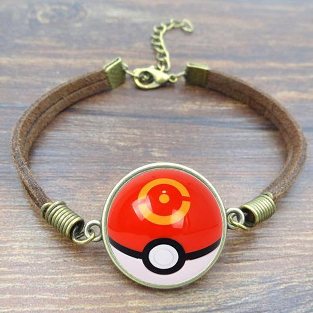 pokemon sports ball leather bracelet