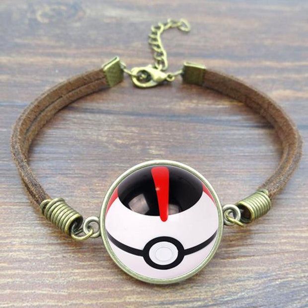 pokemon timer ball leather bracelet