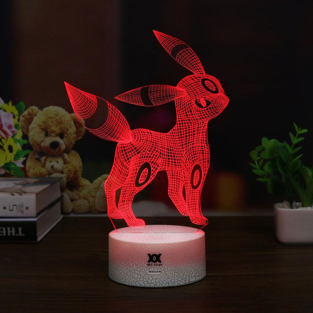 pokemon umbreon led 3d night light of red color