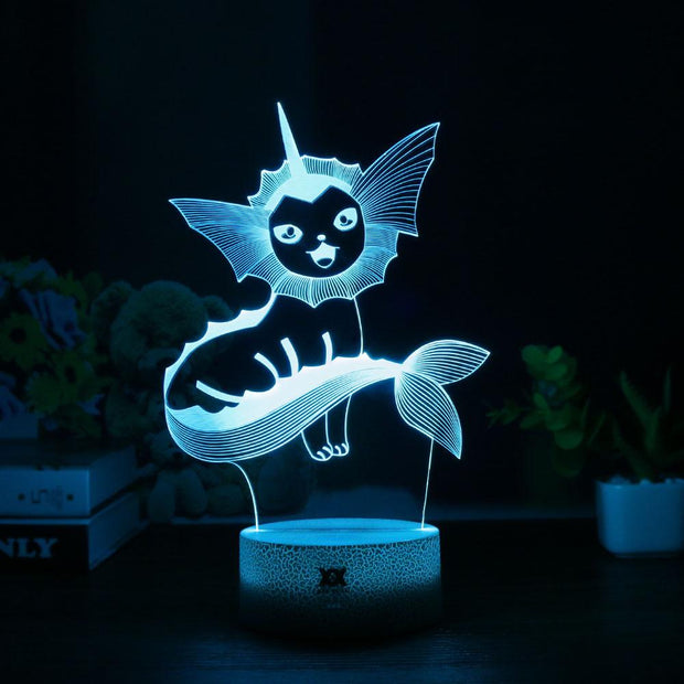pokemon vaporeon led 3d night light of blue color