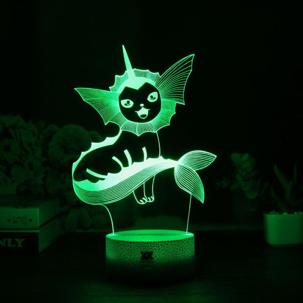pokemon vaporeon led 3d night light of green color