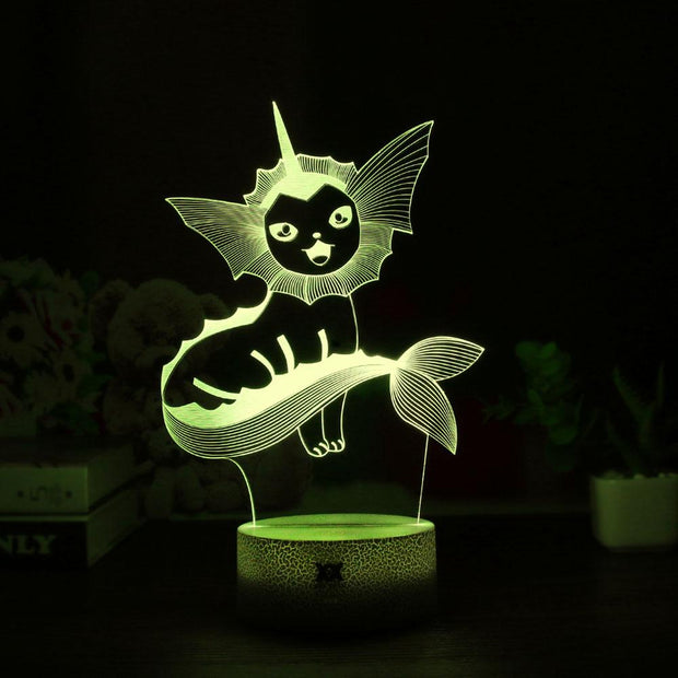 pokemon vaporeon led 3d night light of yellow color