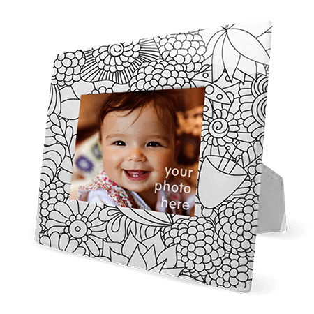 coloring book picture frame in monochromatic flowers design