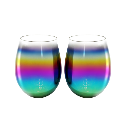 MOQ:6 RAINBOW LUSTER STEMLESS WINE