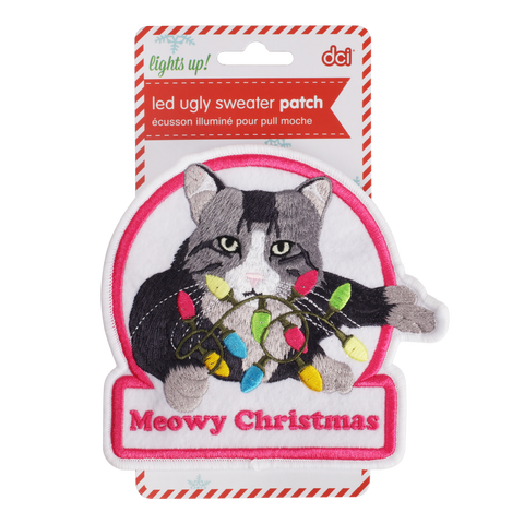 MOQ:12 Meowy Christmas LED Ugly Sweater Patch