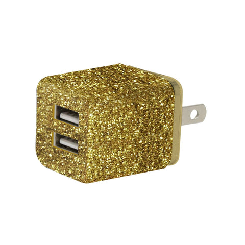 MOQ:12 Glitter Dual USB Wall AC Adapter: Gold