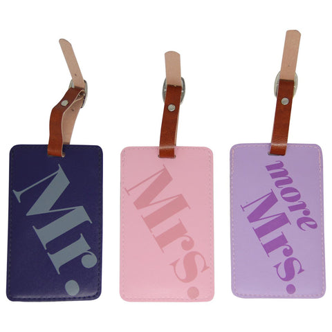 Luggage Tag Set: Mr., Mrs., More Mrs.