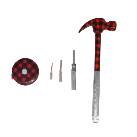 MOQ:6 6-in-1 Multi Tools Set: Red Plaid