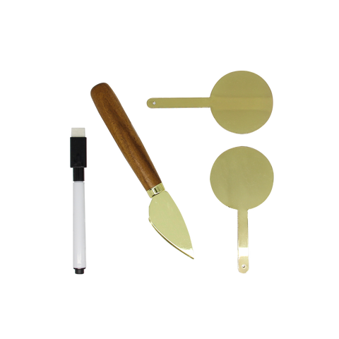MOQ:6 Cheese Marker & Knife Set: Gold