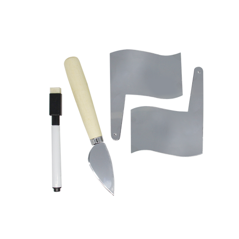 MOQ:6 Cheese Marker & Knife Set: Silver