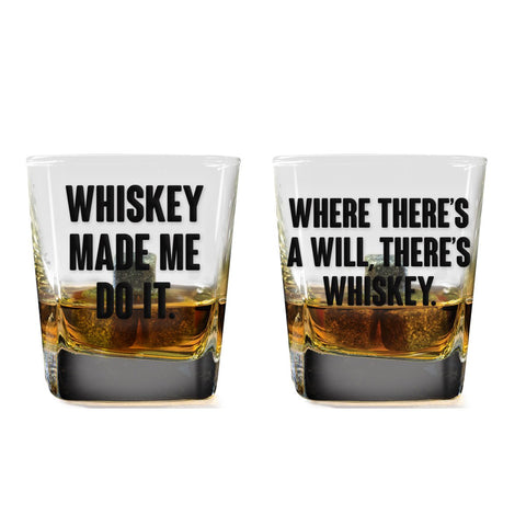 MOQ:6 Made Me Do It Whiskey Glass Set