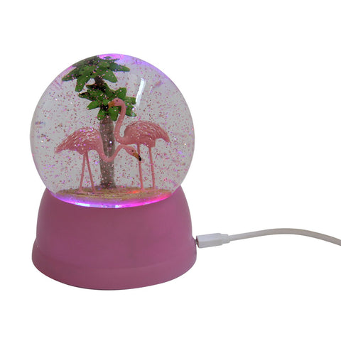 USB Snow Globe Flamingo