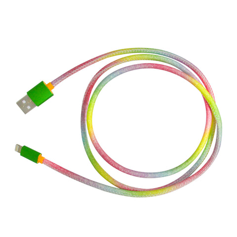 MOQ:12 Glitter Cable: Rainbow