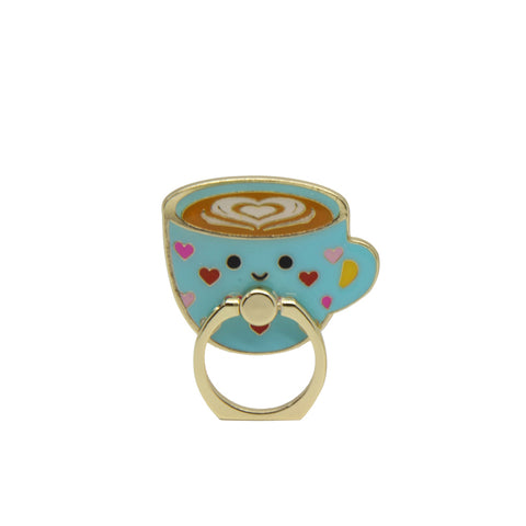 MOQ:12 Enamel Phone Ring: Latte