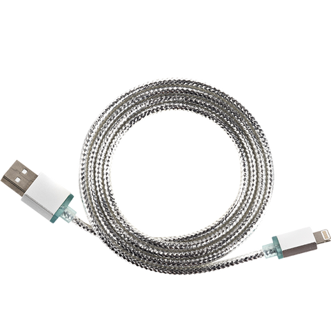 MOQ:12 Glimmer USB Cable for iPhone - Silver