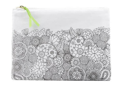 color joy flowers design canvas pouch