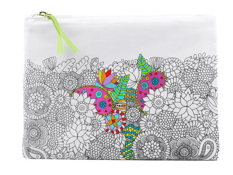 partially colored canvas pouch with flowers design