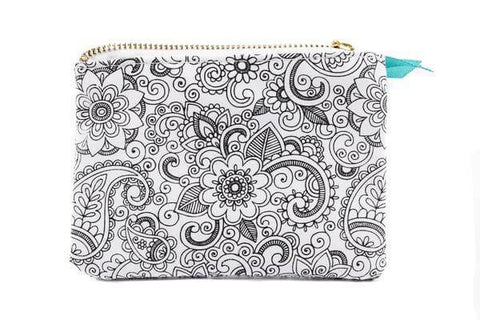 color joy canvas coloring pouch monochromatic oasis design