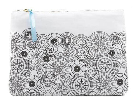 geo spheres designed coloring canvas pouch