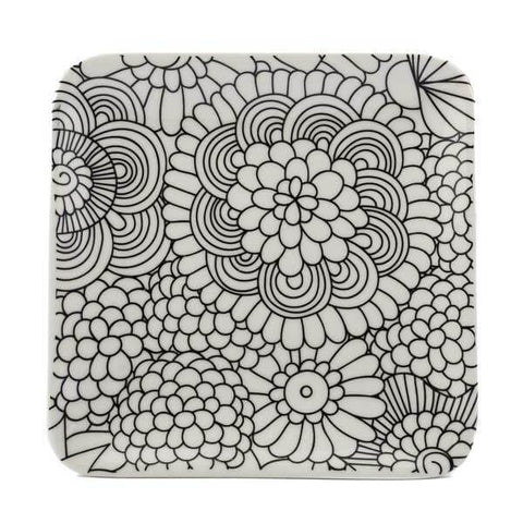 coloring trinket tray in flowers design
