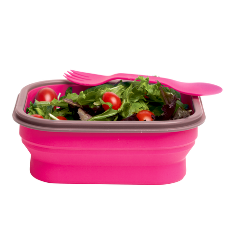 MOQ:5 Collapsible Lunch Box with Spork (Small)