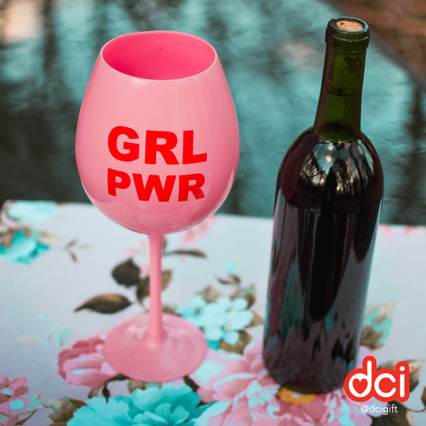 MOQ:6 XL Wine Glass: GRL PWR