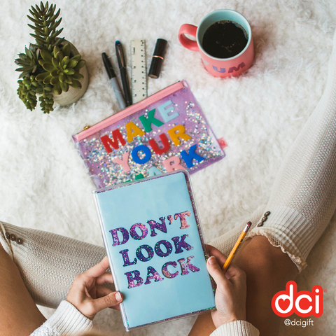 MOQ: 12 Floating Glitter Journal: Don't Look Back