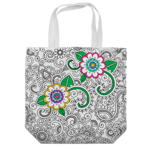 coloring tote bag with flower designs